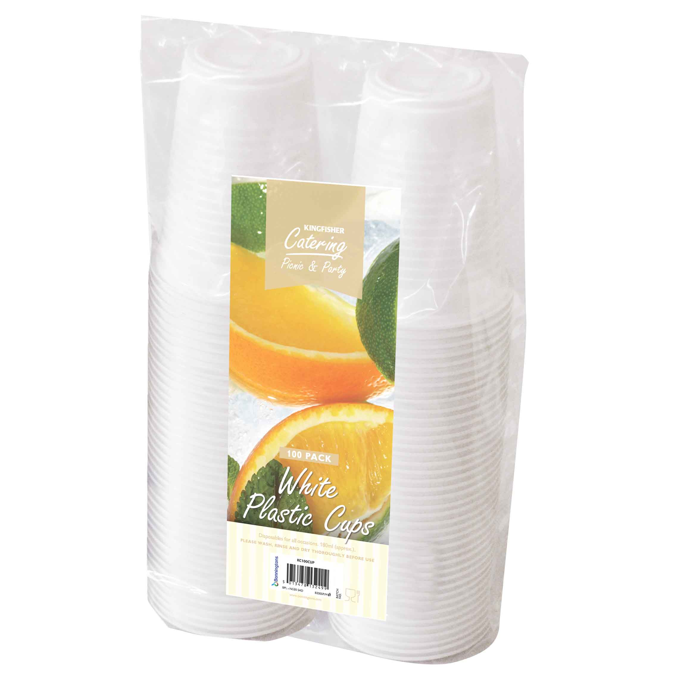 K/F WHITE 180ML PLASTIC CUPS 100 PK