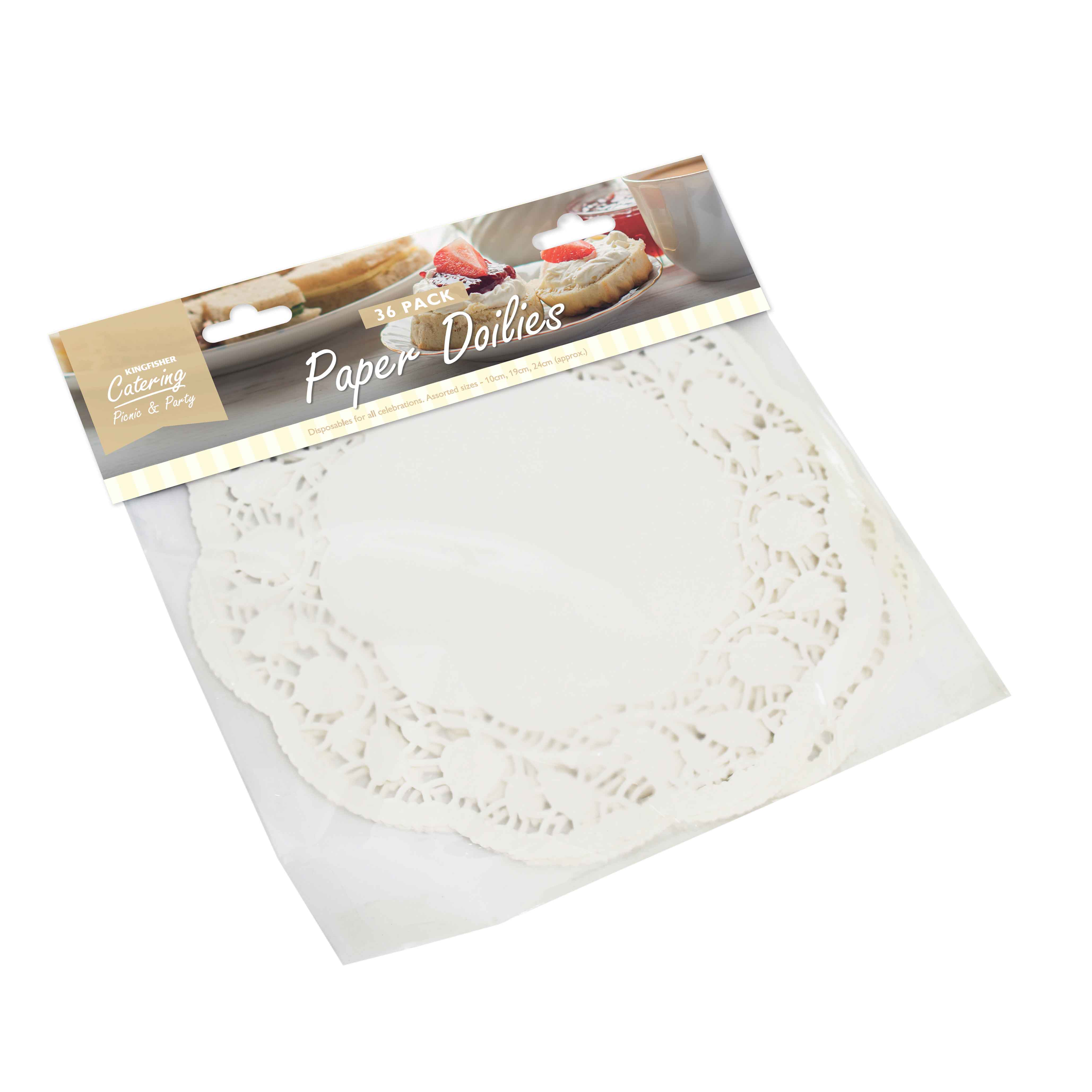 K/F ASSORTED WHITE DOILIES 36 PACK