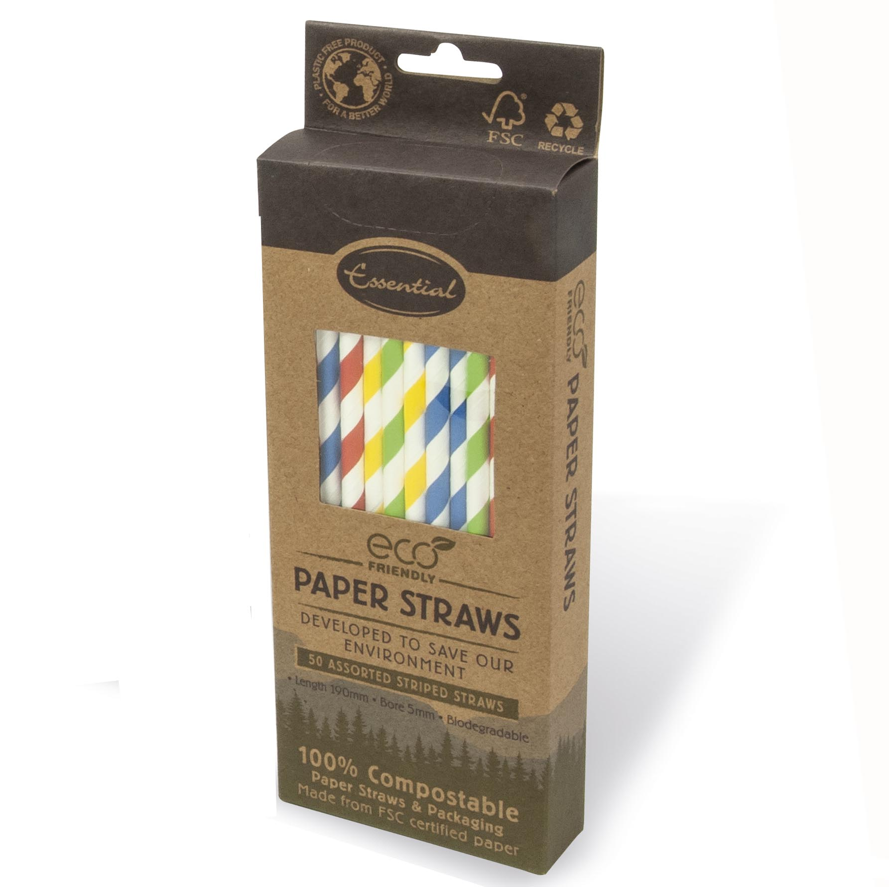 ASSORTED STRIPED PAPER STRAWS 50PK